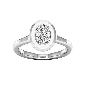 De couer 3/4ct tdw oval diamond 14k witgouden solitaire verlovingsring (i-j, i2)