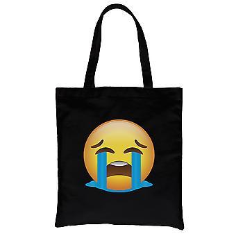 Emoji-Crying Black Canvas Shoulder Bag Sad Moody Thoughtful Gift