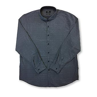HUGO BOSS Lennie regular fit cotton shirt in blue snowflake design