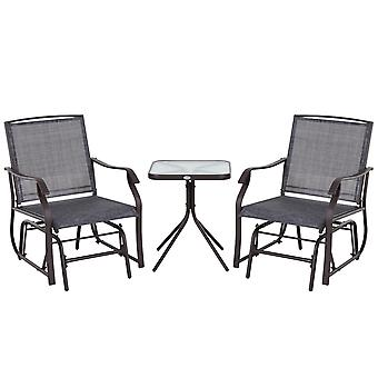 3 Pcs Gliding Chair Glass Table Set Outdoor Chair w/ Metal Frame Sling Seat Porch Balcony Garden Funiture
