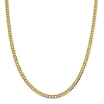 14k 4.7mm Solid Polished Light Flat Miami Curb Chain Necklace Jewelry Gifts for Women - Length: 16 to 26