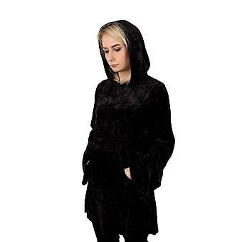 Banned Minimal Goth Velvet Hooded Dress