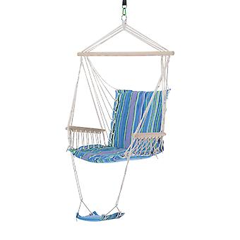 Outsunny Outdoor Hammock Hanging Rope Chair Garden Yard Patio Swing Seat Wooden w/ Footrest Armrest Cotton Cloth (Blue)
