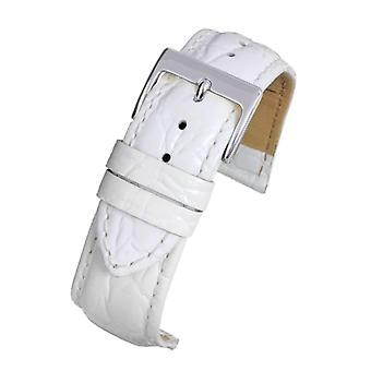 Crocodile grain watch strap white super croc calf leather