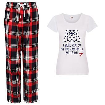 Dámy život je lepšie so psom tartan nohavice pyžamo