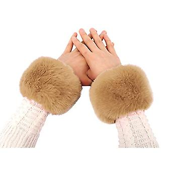 Jasmine Women's Faux Fur Cuff Warm Thick Winter, Light Brown, Size One Size
