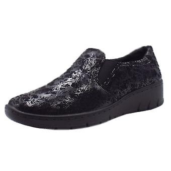 JAN 24701 Angus Modern Wide Fit Fabric Loafer In Black Speckle