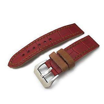 Strapcode crocodile grain watch strap 22mm miltat antipode watch strap matte red crococalf in tan hand stitches