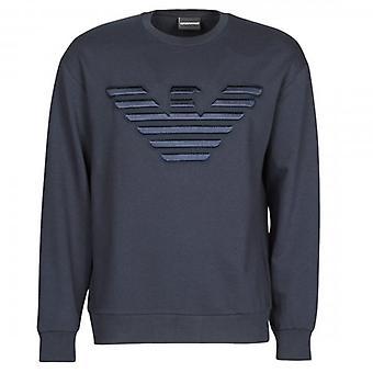 エンポリオ アルマーニ クルー ネック 3D ロゴ スウェットシャツ ネイビー 3H1M89 1J07Z