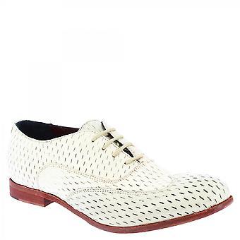 Leonardo Schuhe Frauen's handgemachte Schnürschuhe aus Elfenbein offeneZiegenleder