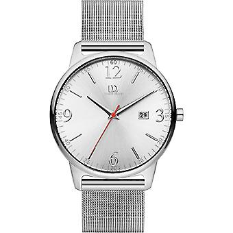Danish design mens quartz watch with analog display and silver leather strap DZ120446