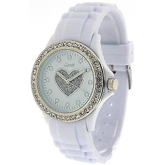 Spirit White Heart Ladies Crystal Bezel Rubber Strap Sports Watch ASPL42