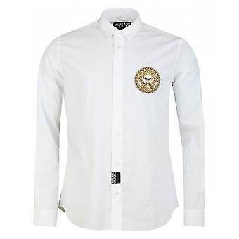 Versace Jeans Couture Slim Fit Embroidered Head Poplin Shirt