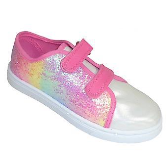 Meninas rosa arco-íris brilhante sinuoso treinadores de glitter