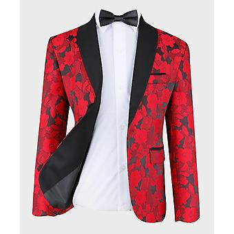 Boys Red Tailored fit Floral Patterned Tuxedo Suit