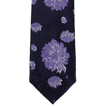 Michelsons Londyn duży kwiatowy poliester krawat - granatowy/fioletowy