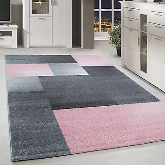 Korte Floral Design Rug Rechthoek Plaid Patroon Woonkamer Tapijt Grijs Roze Gesmolten