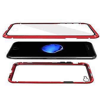 Carcasa magnética con vidrio templado de doble cara - iPhone 7 y 8 - Rojo