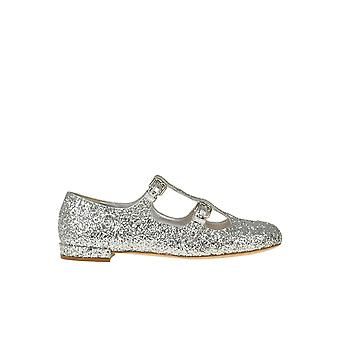 Miu Miu Ezgl014003 Naiset's Silver Glitter Flats