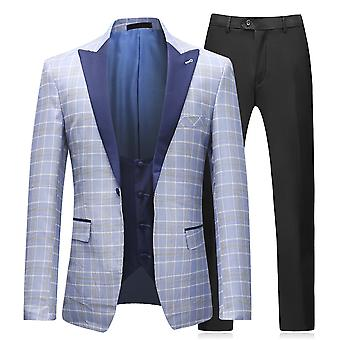 Allthemen barbati costume de 3 piese Slim Fit costum de baie Blue single Breasted herringbone Blazer & & vest
