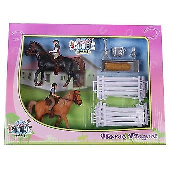 KidsGlobe  (Kids Globe) Kids Globe 2 Horses And 2 Riders For Girls With Accessories 1:24 0072