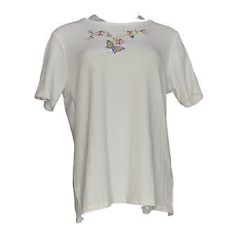 Quacker Factory Womens Top Springtime Embroided Vest & TShirt Black A297249