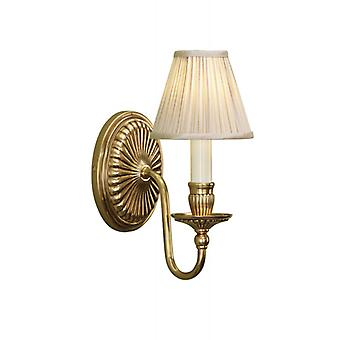 Fitzroy Brass Wall Lamp, Ivory Candle, Beige Faux Silk Lampshade