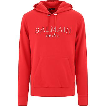 Balmain Uh13642i3643aa Men's Red Cotton Sweatshirt