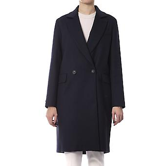 Peserico Blue Long Double Breasted Essential Coat