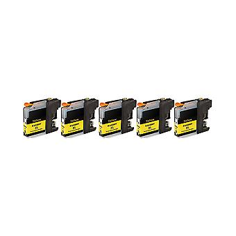 RudyTwos 5x Replacement for Brother LC-225XLY Ink Unit Yellow Compatible with DCP-J132W, DCP-J152W, DCP-J172W, DCP-J552DW, DCP-J752DW, DCP-J4110DW, MFC-J245, MFC-J470DW, MFC-J650DW, MFC-J870DW, MFC-J4