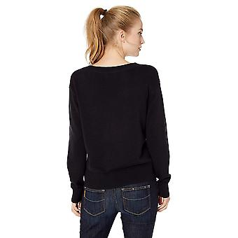Daily Ritual Women's 100% Cotton V-Neck Sweater, Navy, Large