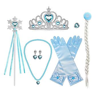 Kids 7 Pcs Frozen Elsa Girls Inspired Crown Magic Wand Gloves Accessories Set