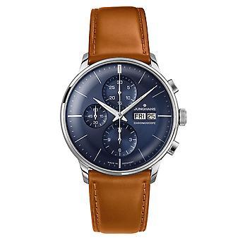 Junghans Meister Cronoscope 027/4526.01 Mão Mecânica Vento Azul Dial Marrom Cinta de Couro Relógio Masculino