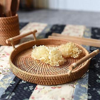 Rattan Round Basket With Handle - Bread, Fruit, Food Breakfast Display Hand