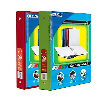 Combo88, BAZIC 1.5 Inch 3-Ring View Binder with 2-Pockets (Case pack of 24 consist 12-Red & 12-Lime Green)
