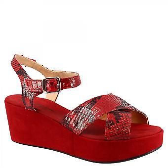 Leonardo Scarpe Donna's zeppe fatte a mano sandali in pelle scamosciata rossa e pelle di pitone con fibbia