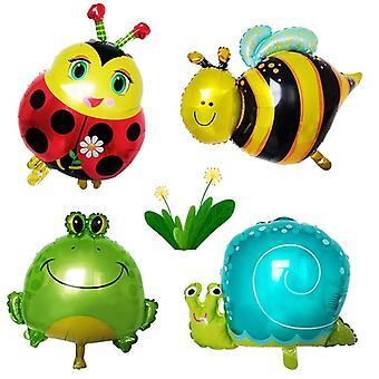 كارتون الحشرات النمذجة الخنفساء النحل الضفدع الحلزون الألومنيوم بالون الفيلم -