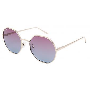Sonnenbrille Damen  Bloom   polarisiertes Gold mit rosa/blauer Linse (pblo0502/F)