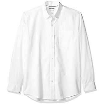 Essentials Men's Regular-Fit Pitkähihainen Solid Pocket Oxford Shirt, Valkoinen, Pieni
