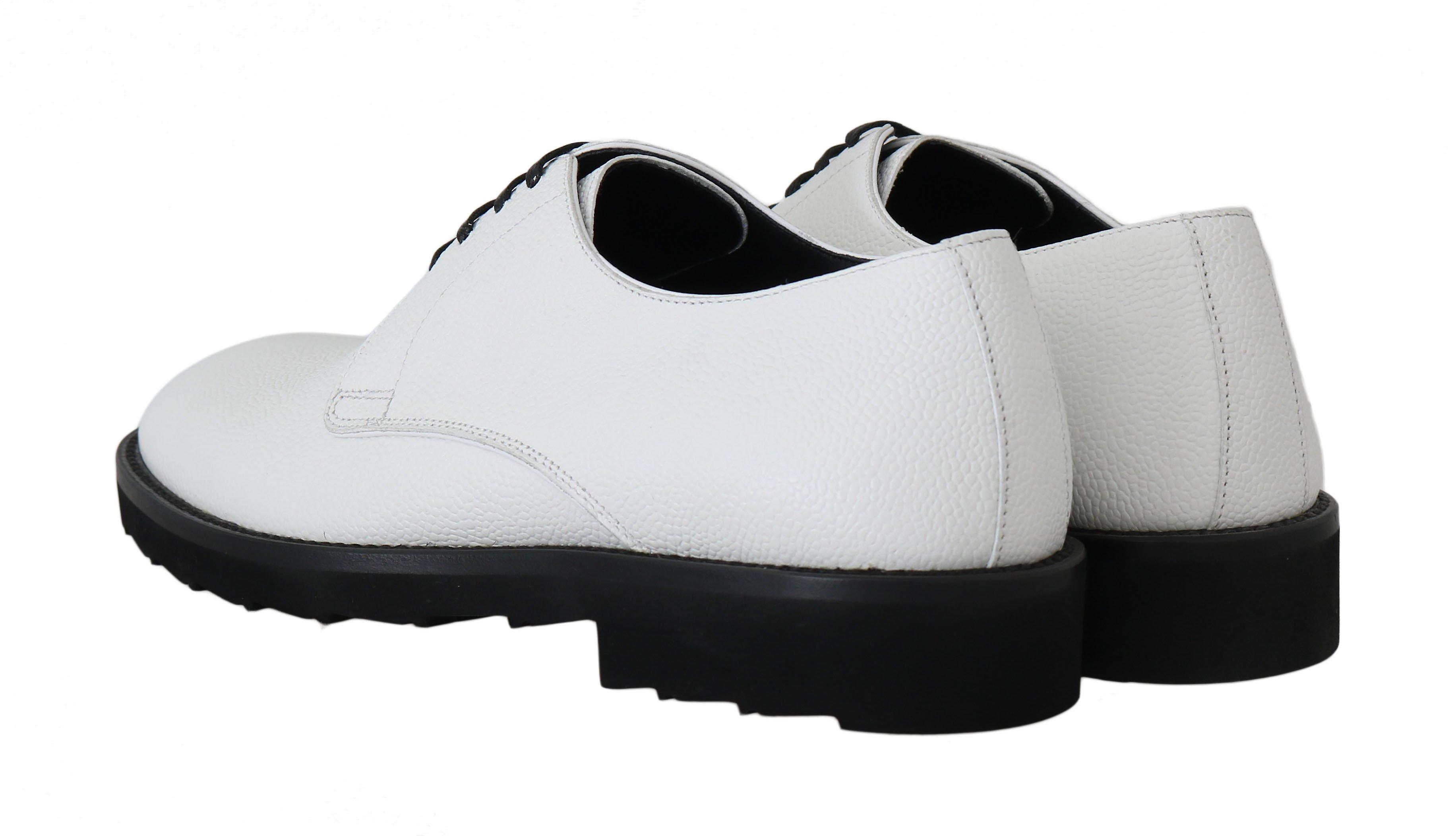 Dolce & Gabbana White Leather Derby Dress Formal Shoes MV2173-45