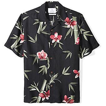 28 Palms Men's Relaxed-Fit Silk/Linen Tropical Hawaiian Shirt, Black/Pink Bam...