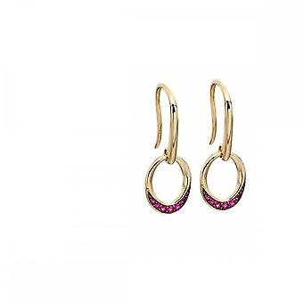 Elements Gold Yellow Gold Ruby Pave Oval Donut Earrings GE2140R