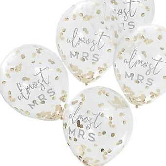 Hen Party Gold Almost Mrs Confetti Balloon Decorations x 5