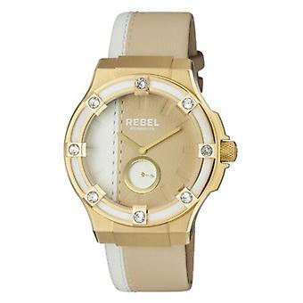 Rebel Women-apos;s RB119-9101 Flatbush Or IP Blanc/Or Montre-bracelet en cuir