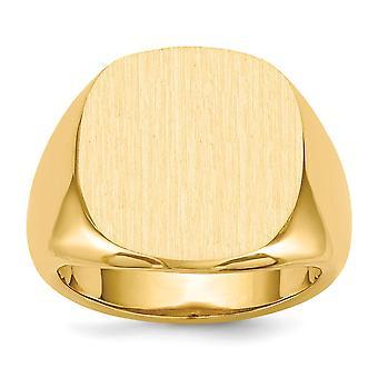 14k keltainen kulta avoin takaisin kaiverrettava miesten signetti rengas koko 10 koruja lahjat miehille - 10,6 grammaa