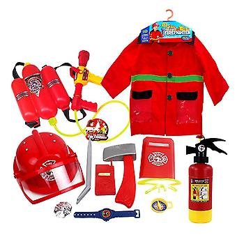 Children Fireman Role Play Costume Set- Firefighter Helmet Costume, Water, Gun
