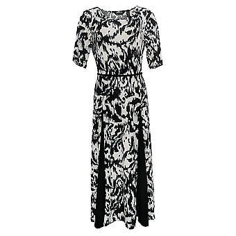 Nina Leonard Dress Belted Printed Midi With Godet Detail White 685-869