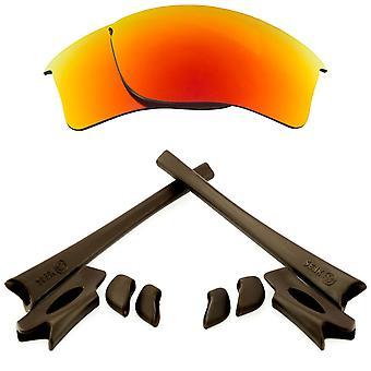 Replacement Lenses Kit for Oakley Flak Jacket XLJ Red Mirror Brown Anti-Scratch Anti-Glare UV400 by SeekOptics