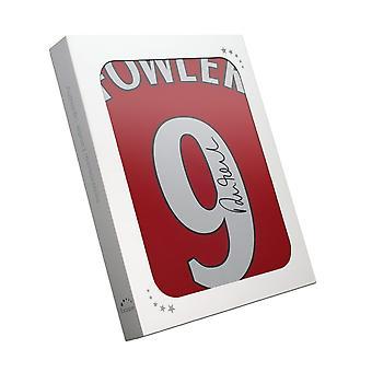 Robbie Fowler a signé le maillot de Liverpool 2001. Numéro 9. Dans la boîte à cadeaux