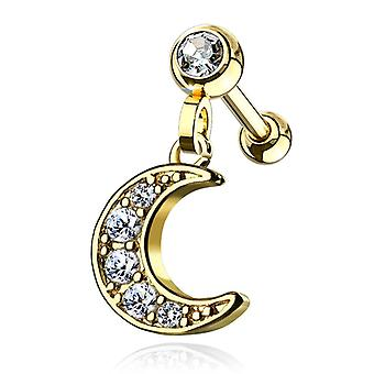 Ear cartilage/tragus with cz paved crescent moon dangle jeweled
